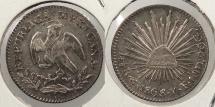 World Coins - MEXICO: Guanajuato 1868-Go YF 1/2 Real
