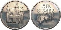 World Coins - SWITZERLAND: 1974 Revision of Constitution 5 Francs