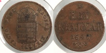 World Coins - HUNGARY: 1848 War of Independence coinage Krajczar