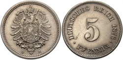 World Coins - GERMANY: 1876 D 5 Pfennig
