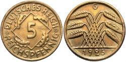 World Coins - GERMANY: 1925-G 5 Reichspfennig