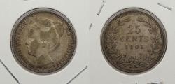 World Coins - NETHERLANDS: 1901 25 Cents