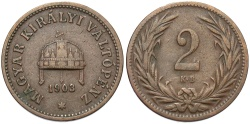 World Coins - HUNGARY: 1903 KB 2 Filler
