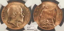 World Coins - GREAT BRITAIN Edward VII 1903 Halfpenny NGC MS-65 RD