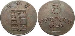 World Coins - GERMAN STATES: Saxe-Weimar-Eisenach 1824 3 Pfennig