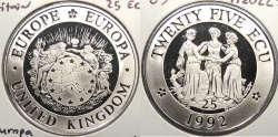 World Coins - GREAT BRITAIN: Europa 1992 25 Ecu Proof