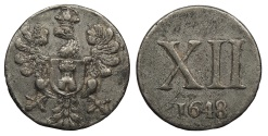World Coins - NETHERLANDS Middleburg 1648 Pewter XII (12 Duit ?) Token Choice AU