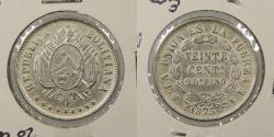 World Coins - BOLIVIA: 1875-PTS FE 20 Centavos