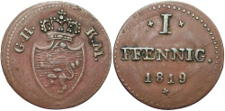 World Coins - GERMAN STATES: Hesse-Darmstadt 1819 1 Pfennig