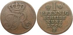 World Coins - GERMAN STATES: Prussia Friedrich II 1754 1 Pfennig