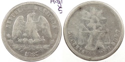 World Coins - MEXICO: 1883-Pi H 50 Centavos