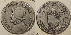 World Coins - PANAMA: 1947 Half Balboa