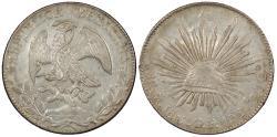 World Coins - MEXICO 1857-Mo GF 8 Reales AU/UNC
