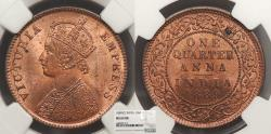 World Coins - INDIA Victoria 1889 1/4 Anna NGC MS-64 RB