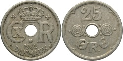 World Coins - DENMARK: 1932 25 Ore