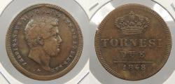 World Coins - ITALIAN STATES: Naples 1848 Two Sicilies 2 Tornesi