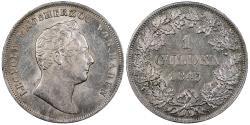 World Coins - GERMAN STATES Baden Leopold 1843 Gulden (2/3 Thaler) AU