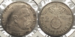 World Coins - GERMANY: 1939-A Hindenburg 2 Reichsmark