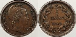 World Coins - VENEZUELA: 1843-W.W. 1/4 Centavo