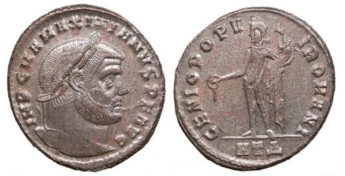 Ancient Coins - Maximianus First Reign 286-305 A.D. Follis Heraclea Mint Good VF