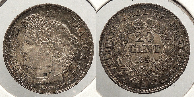World Coins - FRANCE: 1850-A 20 Centimes