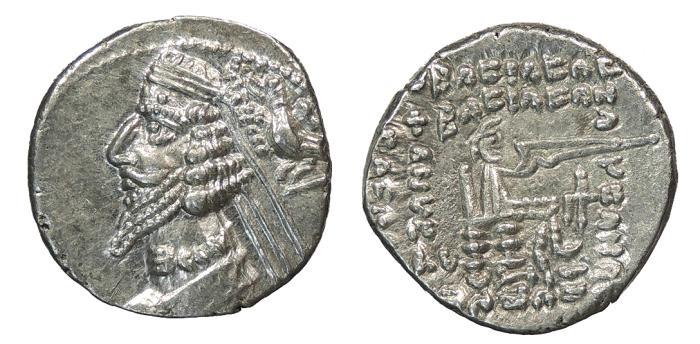 Ancient Coins - Parthia Phraates IV 38-2 B.C. Drachm Choice EF