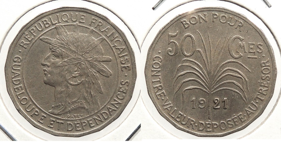 World Coins - GUADELOUPE: 1921 50 Centimes