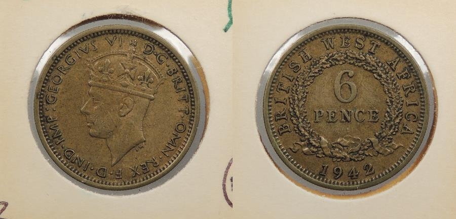 World Coins - BRITISH WEST AFRICA: 1942 George VI 6 Pence