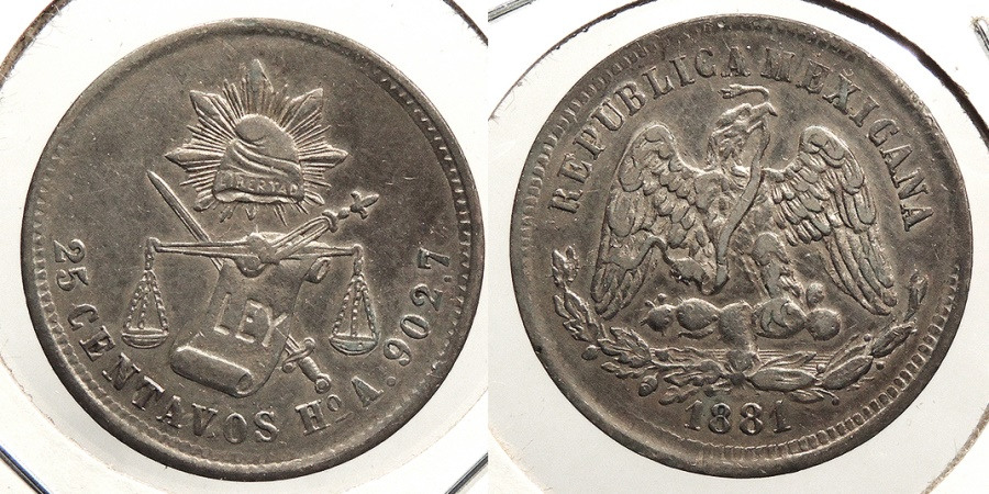 World Coins - MEXICO: Hermosillo 1881-Ho A 25 Centavos