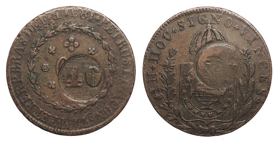 World Coins - BRAZIL Pedro II ND (1835) 40 Reis EF