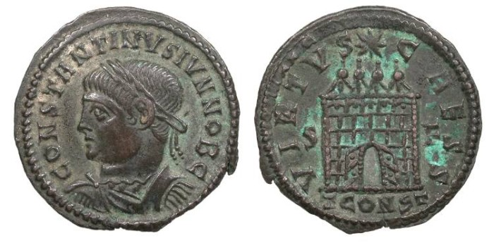 Ancient Coins - Constantine II, as Caesar 317-337 A.D. Follis Constantina (Arles) Mint Good VF