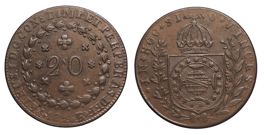 World Coins - BRAZIL Pedro I 1824-R 20 Reis AU/UNC