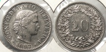 World Coins - SWITZERLAND: 1897 Better date - mintage 500,000 20 Rappen