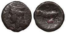 Ancient Coins - Sicily Panormos Punic Occupation Circa 380-340 B.C. AE21 Fine
