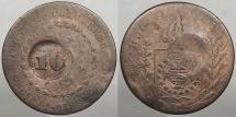 World Coins - BRAZIL: ND (1835) Countermark on 1829-R 20 Reis 10 Reis