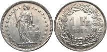 World Coins - SWITZERLAND: 1914-B 1 Franc