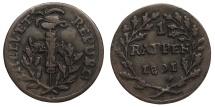 World Coins - SWITZERLAND 1801 Rappen EF