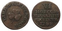 World Coins - GERMAN STATES Saxe-Meiningen Limbach & Breitenbach Porzellanfabrik. 1788 AE Kupfermarke mit Wertzahl 6 (Heller?) VF