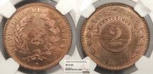 World Coins - PARAGUAY 1870 SHAW 2 Centesimos NGC MS-65 RB