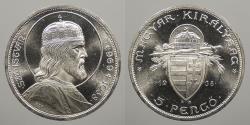 World Coins - HUNGARY: 1938 5 Pengo