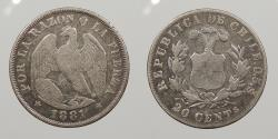 World Coins - CHILE: 1881-So 20 Centavos