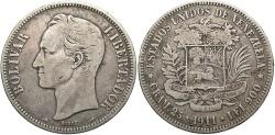 World Coins - VENEZUELA: 1911 5 Bolivares