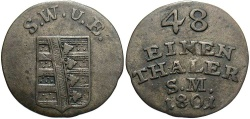 World Coins - GERMAN STATES: Saxe-Weimar-Eisenach 1801 1/48 Thaler