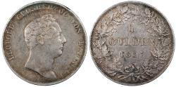 World Coins - GERMAN STATES Baden Leopold I 1837 Gulden (2/3 Thaler) EF
