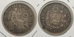 World Coins - PERU: 1874-YJ 1/5 Sol