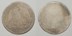 World Coins - MEXICO: Alamos 1877-As L 26,000 mintage. Scarce. 50 Centavos