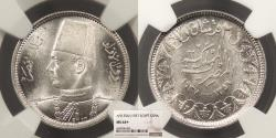 World Coins - EGYPT Farouk 1937 / AH 1356 2 Piastres NGC MS-64+