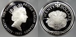 World Coins - BRITISH VIRGIN ISLANDS: 1985 Sword Guillon 20 Dollars Proof