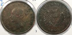 World Coins - CANADA: Nova Scotia 1843 Victoria Halfpenny Token