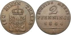 World Coins - GERMAN STATES: Prussia 1844-A 2 Pfennig